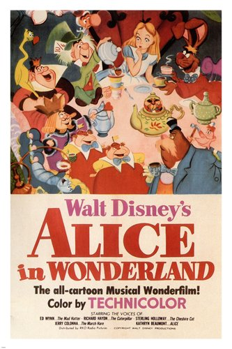 Walt Disneys Alice In Wonderland MOVIE POSTER 1951 24X36 VINTAGE CARTOON Reproduction Not An