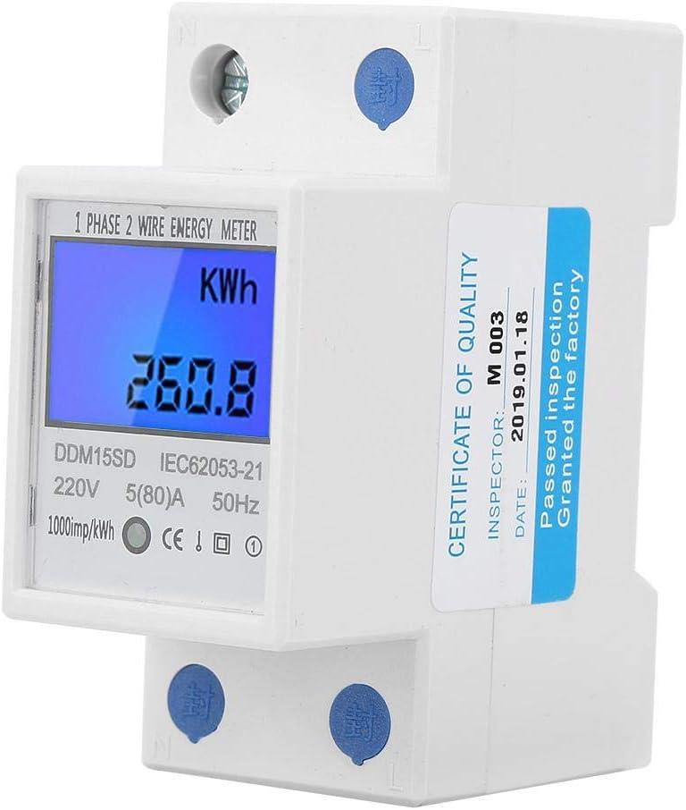 5-80A DDM15SD Retroiluminación LCD Pantalla digital Monofásico Electrónica KWh Medidor Din-rail Energy Meter