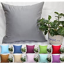 """TangDepot, Super Silky Soft, HIGHEST QUALITY 100% Cotton Solid Decorative Throw Pillow Covers, Pillowcases, euro shams, many color & size options, Baby Blue, Baby Pink, Beige, Coffee, Gray, Green, Mint, Navy Blue, Purple, Red, Wine, 12"""" x 12"""", 12"""" x 18"""", 12"""" x 20"""", 14"""" x 14"""", 16"""" x 16"""", 18"""" x 18"""", 20"""" x 20"""", 22"""" x 22"""", 24"""" x 24"""" and 26"""" x 26"""" - (22""""x22"""", Gray)"""