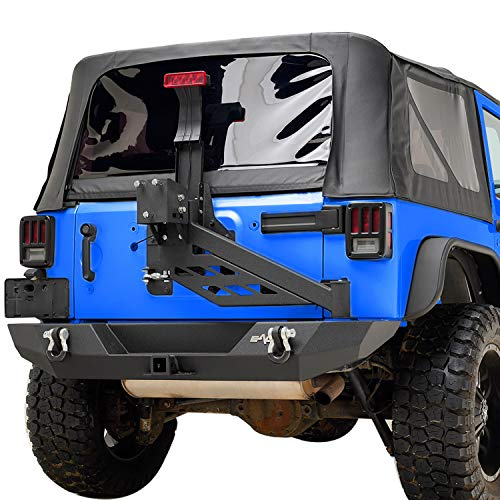 - EAG Rear Bumper W/Tire Carrier Linkage Steel Black Textured Fit for 07-18 Jeep Wrangler JK