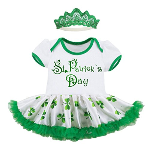 FEITONG Toddler Baby Girls ST.Patrick's Day Imperial Crown Headband+Short Sleeve Romper Dress Party Princess Dress (Green, 12-18M) -