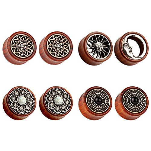 TBOSEN 8PCS Sun Moon Organic Wood Saddle Ear Plugs Tunnels Stretching Punk Piercings Expanders Set