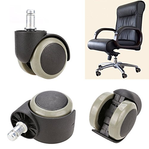 GESTO New 5PCS Office Chair Soft Rubber Caster Wheel Swivel Wood Floor Funiture Replacement