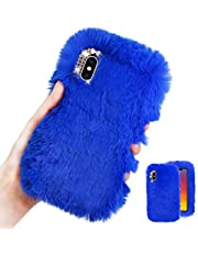 MOIKY for Samsung Galaxy A11 Case [with HD Screen Protector],Cute Warm Winter Fluffy Furry Plush Soft Flexible Silicon TPU Case with Bowknot Diamond for Samsung Galaxy A11,Blue