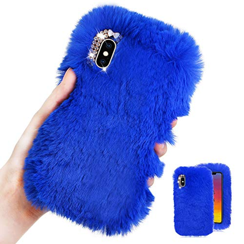 For iPhone X/iPhone XS Case [with HD Screen Protector],MOIKY Cute Warm Winter Fluffy Furry Plush Soft Flexible Silicon TPU Case with Bowknot Diamond for iPhone X/iPhone XS,Blue