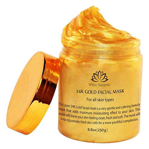 24K Gold Facial Mask By White Naturals:Rejuvenating Anti-Aging Face Mask For Flawless Skin Reduces Fine Lines, Clears Acne,Minimizes Pores,Moisturizes &Firms Up Your Facial Skin 8.8 oz