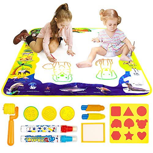 KOOWHEEL Doodle Drawing Mat for Kids, Water Doodle Mat 28 X 28 Magic Mat Educational Toys Gift for Boy Girl Toddlers Age 2 3 4 5 6+,4 Pens,9 Drawing Molds Included