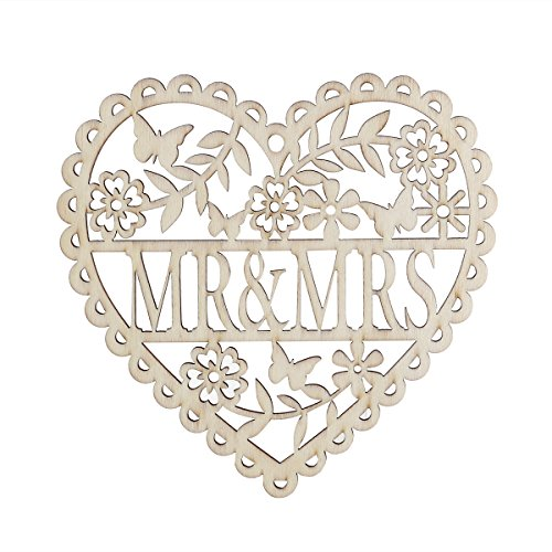 Tinksky Mr and Mrs Heart Shaped Wood Hollow Hanging Pendants Ornament, Mr and Mrs Photo Props, Valentine's Day Wedding Favors