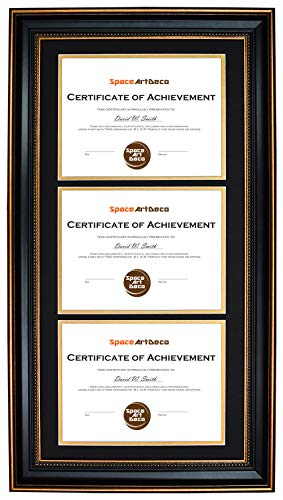 Space Art Deco Ornate Gold Black Design Vertical Triple Certificate/Diploma Frame - Black Over Gold Double Mat - for Three 8.5x11 Certificates and Diplomas- Sawtooth Hangers - Wall Mount ()