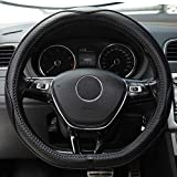 D Shaped Steering Wheel Covers - Genuine Leather Fit Flat Follow Steering Wheel Cover 14.5'-15' 131D Black