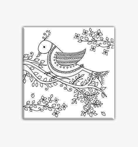 Zentangle Bird Coloring Canvas for adults, Stretched primed canvas 8 x 8 Inches