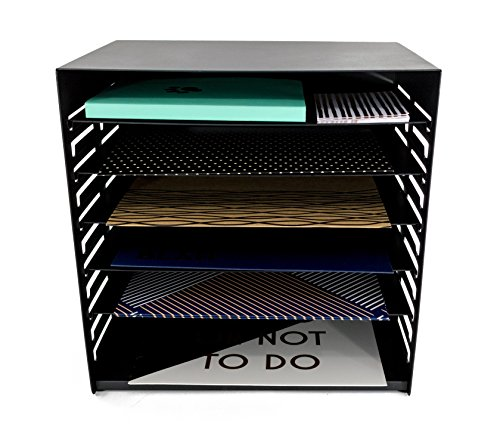 Filing Tier (Blu Monaco 6 Tier Vertical Trays Document File Holder - Office Desktop Sorter Rack - Adjustable Shelves - Black Metal)