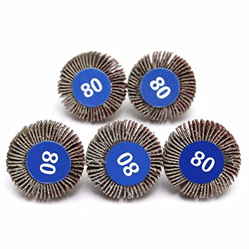 Letbo New 5pcs 80 Grit 4mm Shank Grinding Sandpaper Flap Wheel Sanding Discs For Rotary Tools