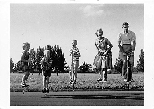 Family on Pogo Sticks Old Vintage Postcard Post Card