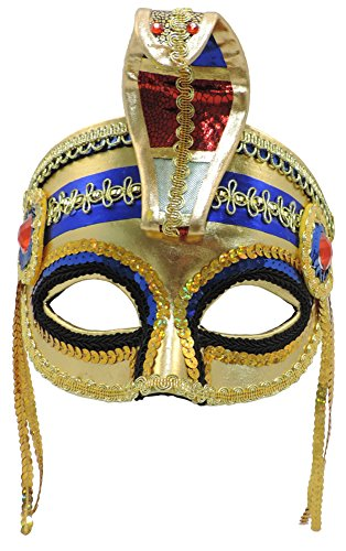 Egyptian Queen Cleopatra Gold Sequined Mask With Cobra Snake