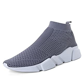 VAMJAM Womens Walking Running Shoes Slip-On Fashion Sneakers Tennis Casual Gym Shoes Grey 39
