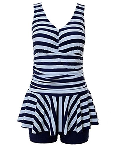 Tempt-Me-Women-One-Piece-Vintage-Ruched-V-neckline-Tankini-Swimdress