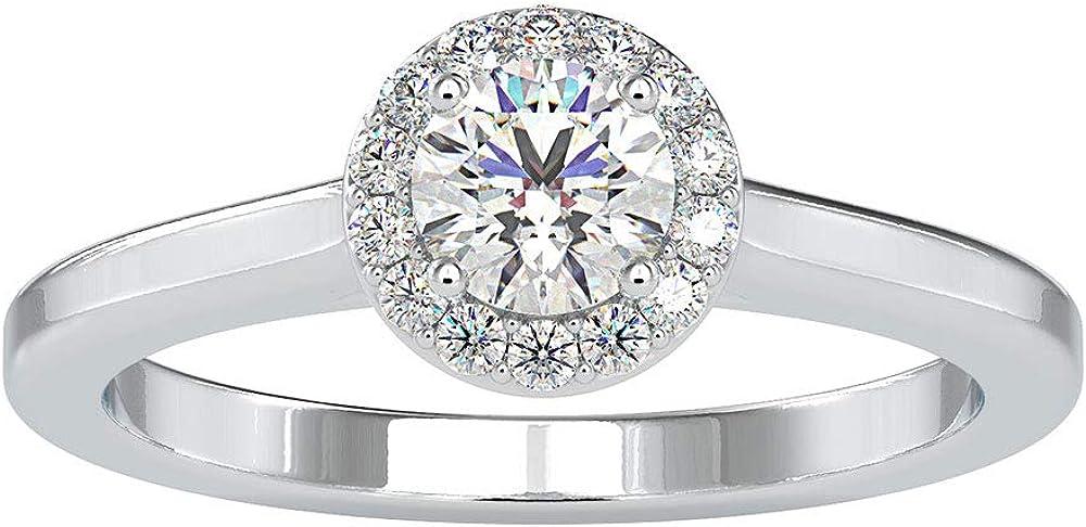 Anillo de boda de diamante de 1/2 quilates, anillo de compromiso solitario, anillo de declaración de halo, anillo de aniversario único para ella, 14K Oro blanco