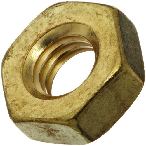 Finish 00 - Brass Small Pattern Machine Screw Hex Nut, Plain Finish, #00-90 Thread Size, 5/64
