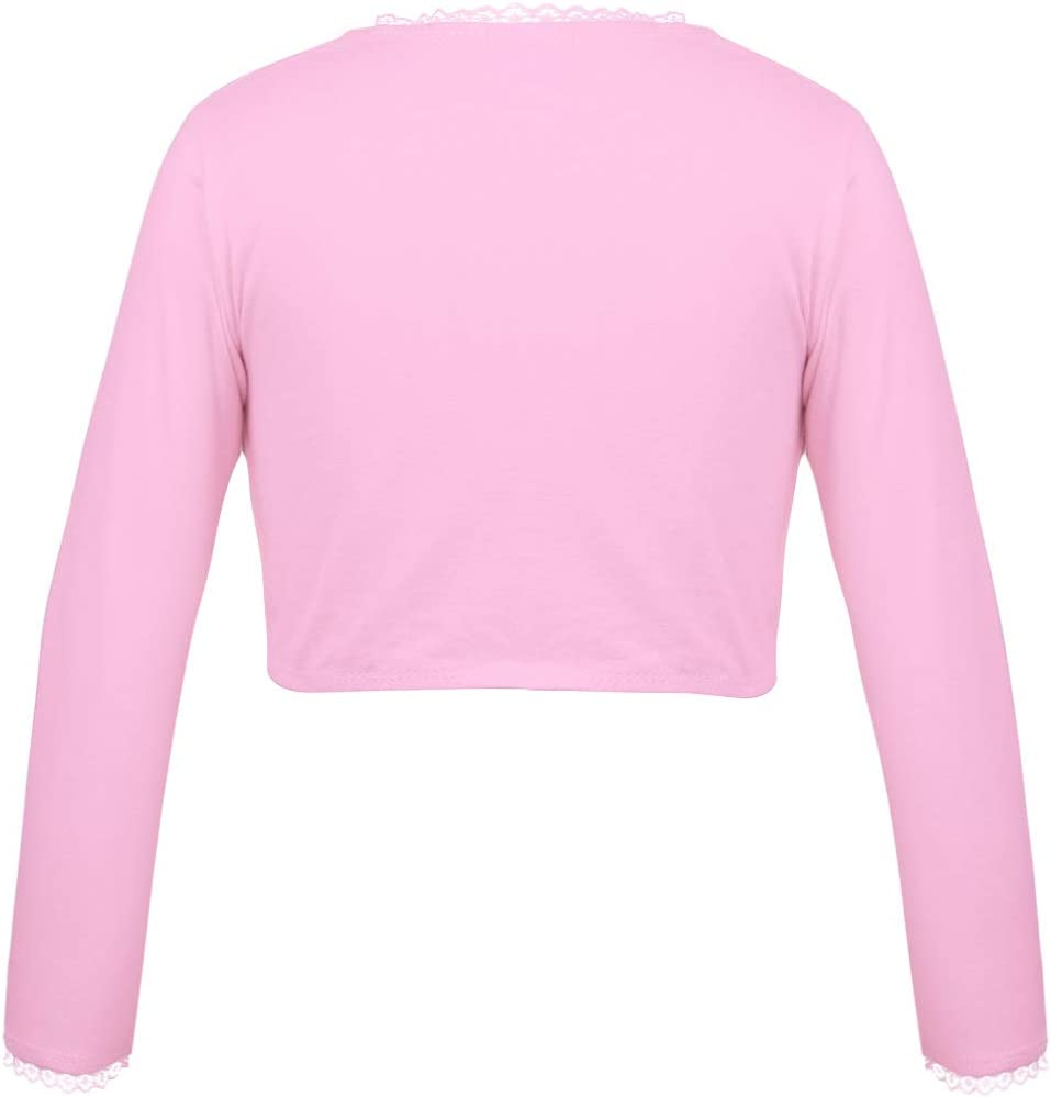 MSemis Kids Girls Classic Cotton Long Sleeve Ballet Dance Bolero Front Knot Wrap Crop Tops Knit Cardigan Sweaters Shrug