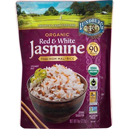 Lundberg Family Farms Organic Red & White Jasmine Rice, Thai Hom Mali, 8 Ounce (Pack of 6) by Lundberg