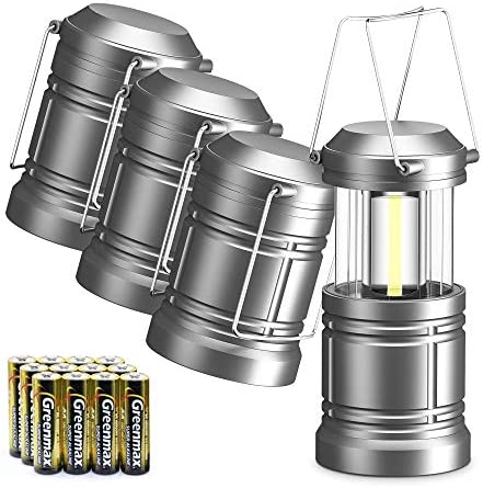 WdtPro 4 Pack Camping Lantern with 12 AA Batteries, 500LM Ultra Bright LED Lanterns, Magnetic, Collapsible, Waterproof Lantern Flashlight for Hurricane, Emergency, Hiking, Storm, Outages