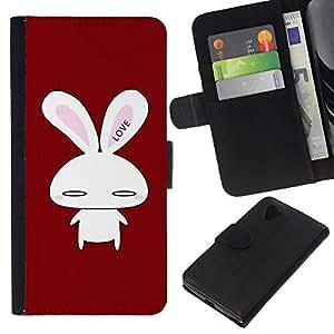 Planetar® Modelo colorido cuero carpeta tirón caso cubierta piel Holster Funda protección Para LG Google NEXUS 5 / E980 / D820 / D821 ( Cute Bunny Love )