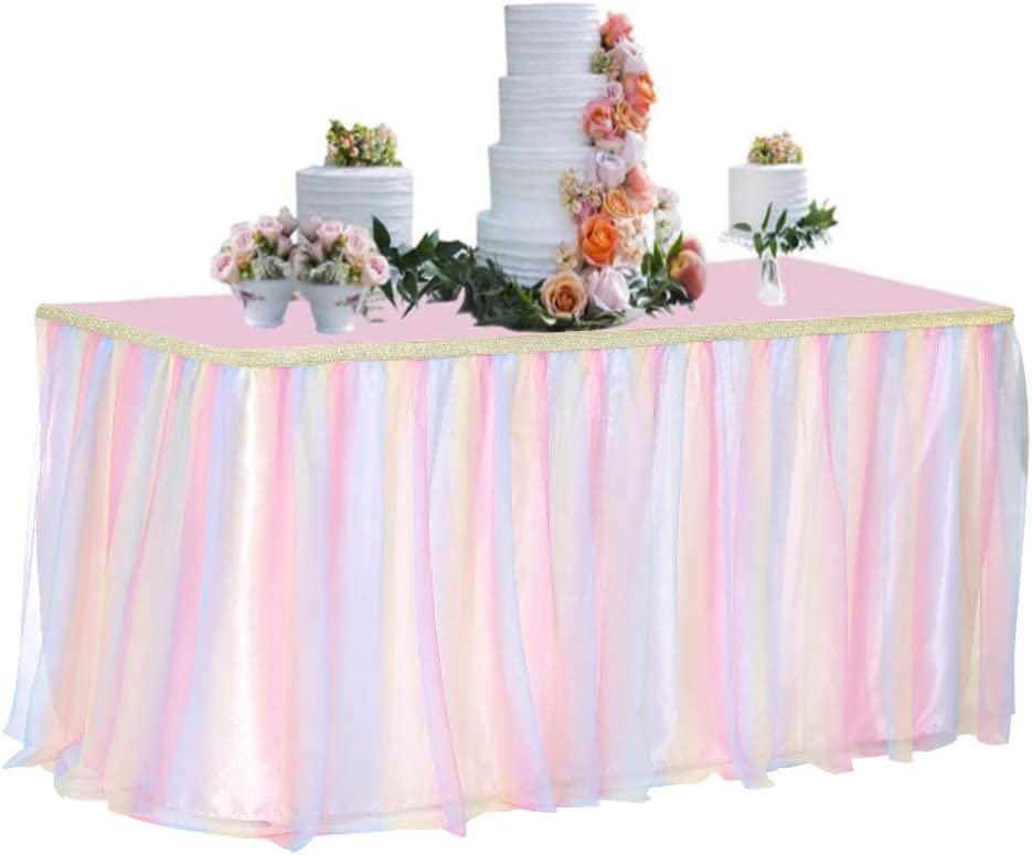 Tutu Table Skirt 6ft for Round Retangle Table Adjustable Tulle Table Skirting for Birthday Baby Shower Graduation Wedding Anniversary Picnic Friends or Family Party Decoration-Pastel