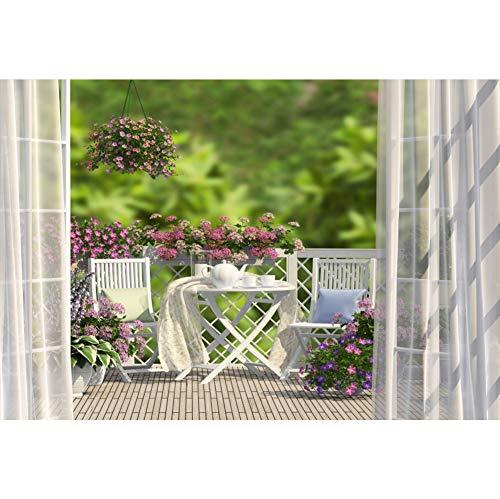 YongFoto 8x6ft Indoor Room Scene Backdrop Garden Balcony Bokeh Photography Background Flowers Curtain Wood Floor Wedding Photo Afternoon Tea Decoration Children Baby Portraits Photo Studio Props ()