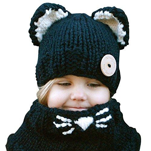 EUBUY Winter Warm Cute Animal Knitted Hood Scarf Cat Pattern