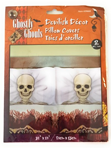 SKELETON PLASTIC PILLOW COVERS - WE SLEEP LIKE THE DEAD IN OUR HOUSE! Fundas de Almohada Esqueleto (Human Body Suit Costume)