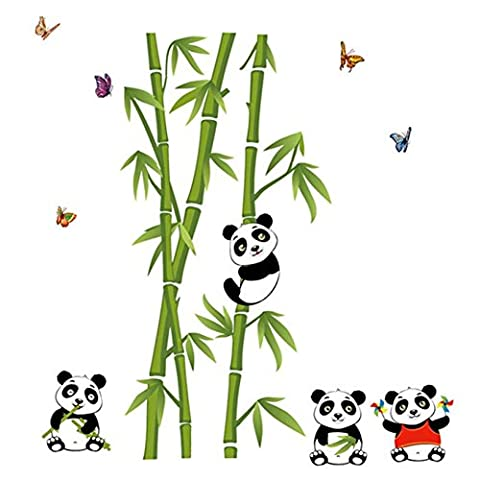 AIMTOPPY Home Decor Mural Vinyl Wall Sticker Removable Cute Panda Eating Bamboo Nursery Room Wall Art Decal - Bamboo Wall Decals