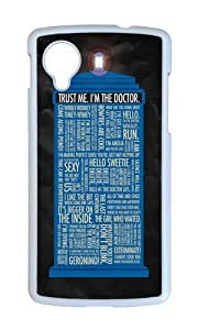 Google Nexus 5 Case,WENJORS Unique Doctor Who Hard Case Protective Shell Cell Phone Cover For Google Nexus 5 - PC White