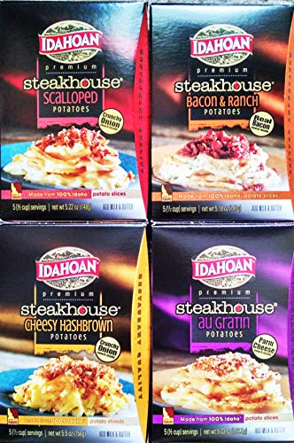 Idahoan STEAKHOUSE Premium Potatoes NEW! VARIETY PACK: 1 Box of CHEESEY HASHBROWNS, 1 Box of PARMESAN & HERB RED POTATOES, 1 Box of BACON & RANCH RED POTATOES & 1 Box of SCALLOPED RED POTATOES (4 PACK)