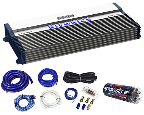 (Hifonics BXX2400.1D 2400 Watt RMS Mono Car Amplifier Class D+Amp Kit+Capacitor)