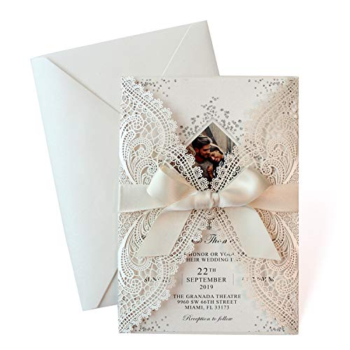 25-Set Laser Cut Wedding Invitations with Ribbon Bow – Photo Invitation Card Template, Elegant Bridal Shower Invites Save The Date, Include Laser Cut Covers, Blank Insert Cards, Ribbons, Envelopes