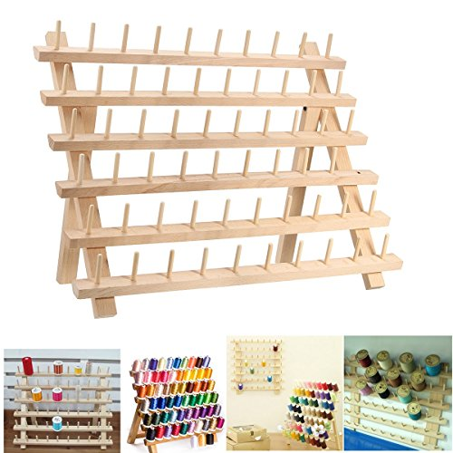Price comparison product image HOT SALE 60 Spool Foldable Beech Wood Embroidery Sewing Thread Stand Holder Storage Rack Jewelry Bracelet Hanger