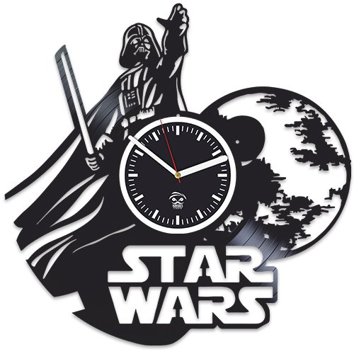 Star Wars Clock, Yoda, Han Solo, The Force Awakens, Best Gift for Boyfriend, Vinyl Record Clock, Kovides Vinyl Wall Clock, Comics Marvel, DC Movie, Silent, Wall Art Sticker, Wall Clock Modern
