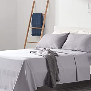 SLEEP ZONE Bed Sheet Sets Temperature Regulation Soft Wrinkle Free Fade Resistant Easy Sheets 4 PC, Gull Gray,Queen