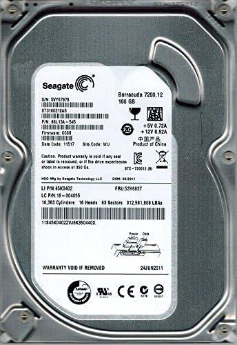 CC6B 160GB WU 9SL13A-545 F//W Seagate ST3160318AS P//N