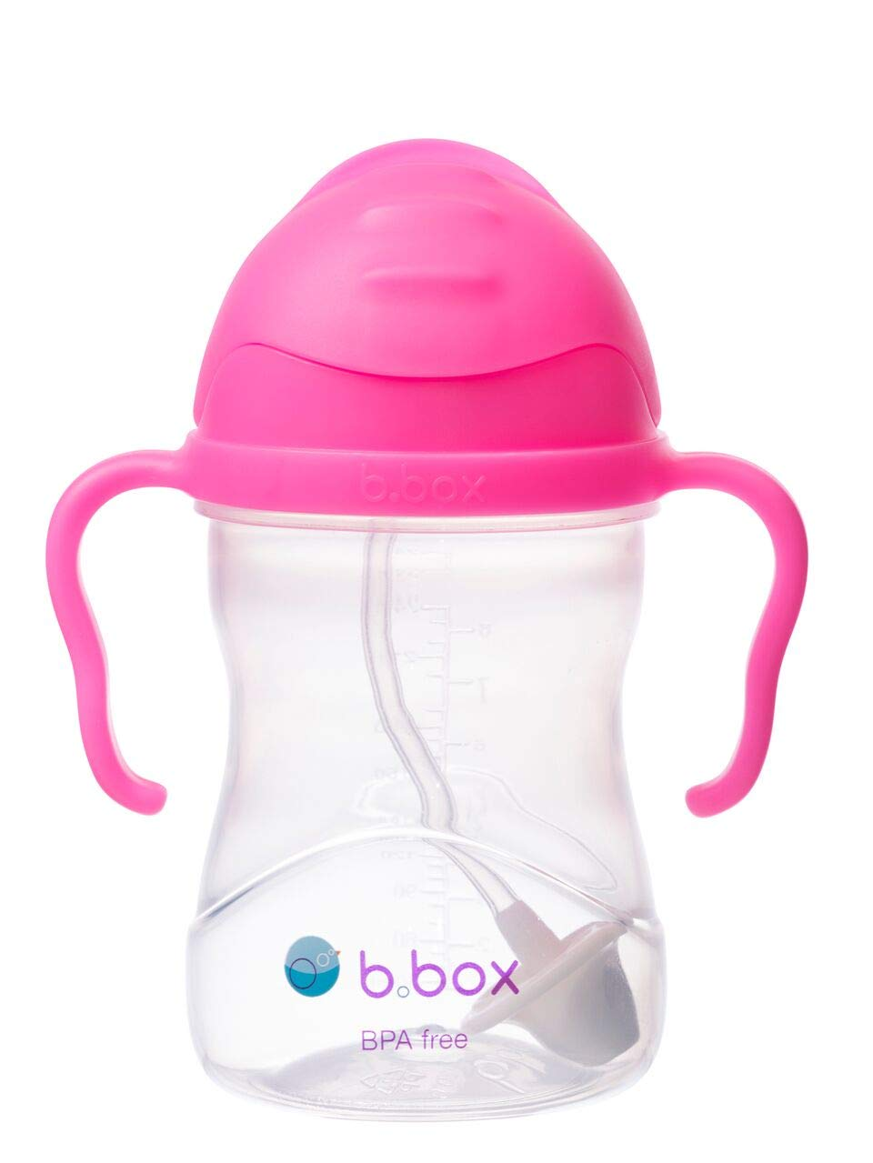 b.box Sippy Cup with Innovative Weighted Straw, Pink Pomegranate (Matte Lid)