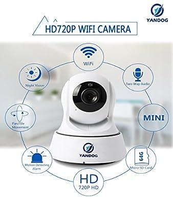YANDOG HD 720P Wireless Wifi IP Camera Network Infrared Night Vision Camera Baby Monitor WIFI IP Camera Surveillance Camera by YANDOG