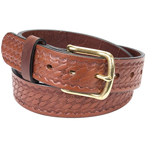 Handmade Basketweave Bridle Leather Belt Extra Thick (Size 44, Brown) (Basketweave Embossed Belt)