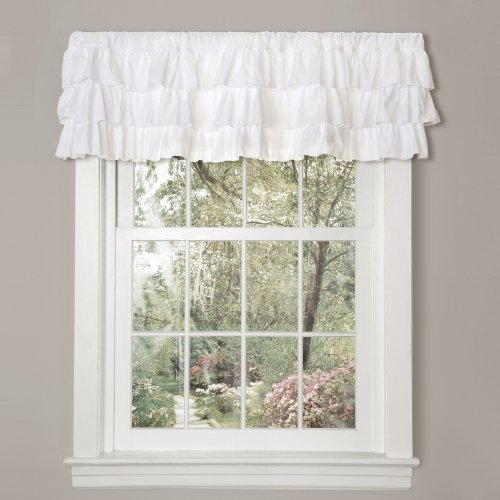 "Lush Decor Belle Valance Shabby Chic Style Single Curtain, 18"" x 84"", White,"