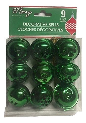 - (Pack of 2) 9 Large Christmas House Aged Finish Snowflake Cutout Jingle Bells (Green)