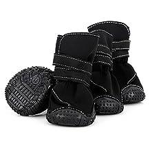 Large Big Dog Sport Shoes Winter Warm Pet Dog Puppy Martin Boots Booties Non-slip Pitbull Golden Retriever Dog Rain Shoes (12, Black)