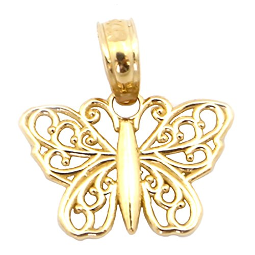 Beauniq 14k Yellow Gold Filigree Butterfly Pendant Necklace - Pendant only ()