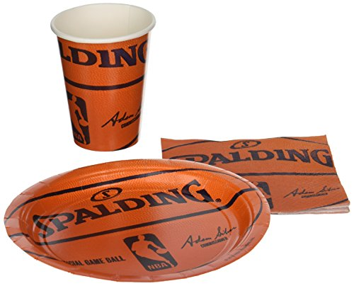 Spalding Basketball - Party Supplies Pack Including Plates,