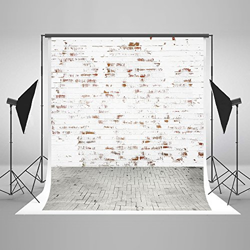 5x7ft Cotton Polyester White Brick Wall Gray Road Party Deco