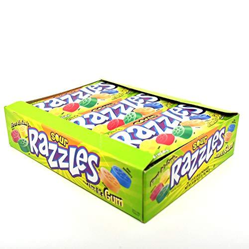 Razzles Sour - Sour Razzles Candy/Gum, Box of 24 1.4-Ounce Bags